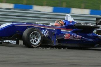 World © Octane Photographic Ltd. Cooper Tyres British Formula 3 Media Day, Castle Donington, Tuesday 8th April 2014. Carlin - Dallara F310 Volkwagen - Peter Li Zhi Cong. Digital Ref : 0903lb1d3930