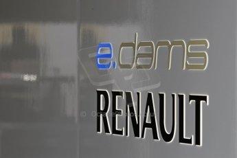 World © Octane Photographic Ltd. FIA Formula E testing – Donington Park 19th August 2014. Spark-Renault SRT_01E. e.dams-Renault logo. Digital Ref : 1077LB1D5093