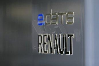 World © Octane Photographic Ltd. FIA Formula E testing – Donington Park 19th August 2014. Spark-Renault SRT_01E. e.dams-Renault logo. Digital Ref : 1077LB1D5465