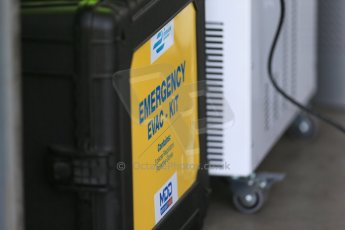 World © Octane Photographic Ltd. FIA Formula E testing – Donington Park 19th August 2014. Spark-Renault SRT_01E. 1st aid kit necessary for electric shocks. Digital Ref :  1077LB1D5580