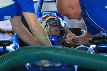 World © Octane Photographic Ltd. FIA Formula E testing – Donington Park 19th August 2014. Spark-Renault SRT_01E. Amlin Aguri - Katherine Legge. Digital Ref : 1077LB1D5599