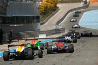 World © Octane Photographic Ltd. Eurocup Formula Renault 2.0 Championship testing. Jerez de la Frontera, Thursday 27th March 2014. The pack queuing to exit the pitlane for the practice start session. Digital Ref :  0900cb1d8004