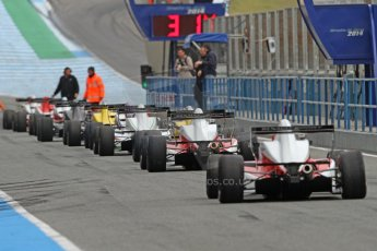 World © Octane Photographic Ltd. Eurocup Formula Renault 2.0 Championship testing. Jerez de la Frontera, Thursday 27th March 2014. The field lines up to leave the pitlane. Digital Ref :  0900cb7d8277