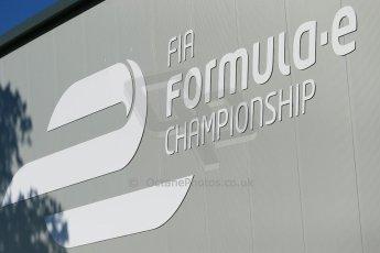 World © Octane Photographic Ltd. FIA Formula E testing Donington Park 10th July 2014. FIA Formula E logo. Digital Ref : 1032CB1D3255