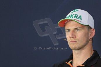 World © Octane Photographic Ltd. Thursday 17th July 2014. German GP, Hockenheim - Formula 1 FIA Press Conference. Sahara Force India VJM07 – Nico Hulkenburg. Digital Ref : 1033LB1D3804