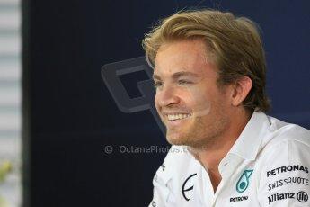 World © Octane Photographic Ltd. Thursday 17th July 2014. German GP, Hockenheim - Formula 1 FIA Press Conference. Mercedes AMG Petronas F1 W05 Hybrid - Nico Rosberg. Digital Ref: 1033LB1D3951