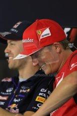 World © Octane Photographic Ltd. Thursday 17th July 2014. German GP, Hockenheim - Formula 1 FIA Press Conference. Scuderia Ferrari F14T – Kimi Raikkonen shares a laugh with Infiniti Red Bull Racing RB10 - Sebastian Vettel. Digital Ref: 1033LB1D4142