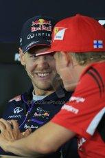 World © Octane Photographic Ltd. Thursday 17th July 2014. German GP, Hockenheim - Formula 1 FIA Press Conference. Scuderia Ferrari F14T – Kimi Raikkonen shares a laugh with Infiniti Red Bull Racing RB10 - Sebastian Vettel. Digital Ref: 1033LB1D4148