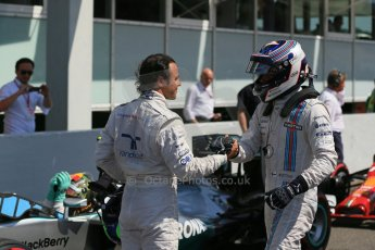 World © Octane Photographic Ltd. Saturday 19th July 2014. German GP, Hockenheim. - Formula 1 Qualifying parc ferme. Williams Martini Racing FW36 – Felipe Massa and Valtteri Bottas. Digital Ref: 1046LB1D7256