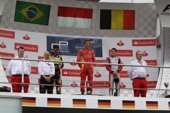 World © Octane Photographic Ltd. Sunday 20th July 2014. GP2 Race 2 – German GP - Hockenheim. Stefano Coletti - Racing Engineering (1st), Felipe Nasr - Carlin (2nd) and Stoffel Vandoorne - ART Grand Prix (3rd). Digital Ref : 1050CB7D6004