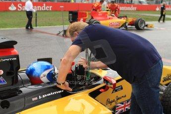 World © Octane Photographic Ltd. Sunday 20th July 2014. GP2 Race 2 – German GP - Hockenheim. Jolyon Palmer and father Jonathan on the grid – DAMS. Digital Ref : 1050CB7D6597