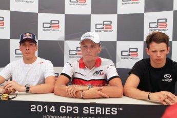World © Octane Photographic Ltd. Saturday 19th July 2014. GP3 Qualifying Session press conference. German GP, Hockenheim. Marvin Kirchhofer - ART Grand Prix (1st), Alex Lynn - Carlin (2nd) and Nick Yelloly - Status Grand Prix (3rd). Digital Ref : 1041CB7D5970
