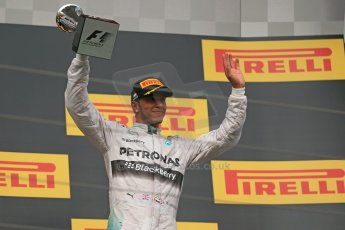 World © Octane Photographic Ltd. Sunday 27th July 2014. Hungarian GP, Hungaroring - Budapest. Podium. Mercedes AMG Petronas F1 W05 Hybrid - Lewis Hamilton. Digital Ref: 1074LB1D4464