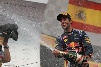 World © Octane Photographic Ltd. Sunday 27th July 2014. Hungarian GP, Hungaroring - Budapest. Podium. Infiniti Red Bull Racing RB10 – Daniel Ricciardo. Digital Ref: 1074LB1D4517