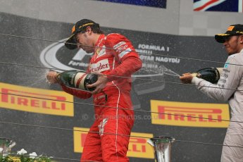 World © Octane Photographic Ltd. Sunday 27th July 2014. Hungarian GP, Hungaroring - Budapest. Podium. Mercedes AMG Petronas F1 W05 Hybrid – Lewis Hamilton and Scuderia Ferrari F14T - Fernando Alonso. Digital Ref: 1074LB1D4521