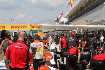 World © Octane Photographic Ltd. Friday 25th July 2014. GP2 Practice – Hungarian GP, Hungaroring - Budapest. The busy pitlane. Digital Ref :
