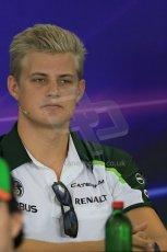 World © Octane Photographic Ltd. Thursday 24th July 2014. Hungarian GP, Hungaroring - Budapest - Formula 1 FIA Press Conference. Caterham F1 Team CT05 – Marcus Ericsson. Digital Ref : 1054LB1D8999