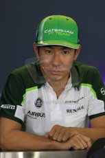 World © Octane Photographic Ltd. Thursday 24th July 2014. Hungarian GP, Hungaroring - Budapest - Formula 1 FIA Press Conference. Caterham F1 Team CT05 – Kamui Kobayashi. Digital Ref: 1054LB1D9038