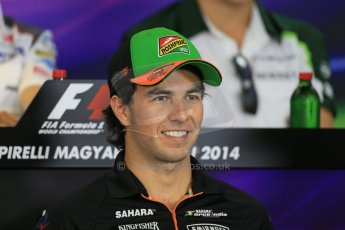 World © Octane Photographic Ltd. Thursday 24th July 2014. Hungarian GP, Hungaroring - Budapest - Formula 1 FIA Press Conference. Sahara Force India VJM07 – Sergio Perez. Digital Ref: 1054LB1D9059