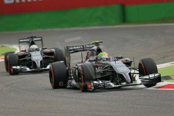 World © Octane Photographic Ltd. Friday 5th September 2014, Italian GP, Monza - Italy - Formula 1 Practice 1. Sauber C33 – Esteban Gutierrez and Giedo van der Garde. Digital Ref : 1094LB1D3431
