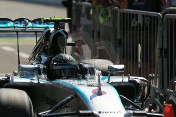 World © Octane Photographic Ltd. Saturday 6th September 2014, Italian GP, Monza - Italy. - Formula 1 Qualifying Parc Ferme. Mercedes AMG Petronas F1 W05 Hybrid - Nico Rosberg. Digital Ref: 1106LB1D6222