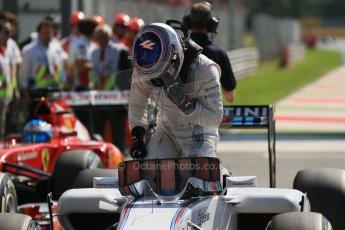 World © Octane Photographic Ltd. Saturday 6th September 2014, Italian GP, Monza - Italy. - Formula 1 Qualifying Parc Ferme. Williams Martini Racing FW36 – Valtteri Bottas. Digital Ref: 1106LB1D6238