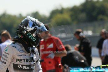 World © Octane Photographic Ltd. Saturday 6th September 2014, Italian GP, Monza - Italy. - Formula 1 Qualifying Parc Ferme. Mercedes AMG Petronas F1 W05 Hybrid - Nico Rosberg. Digital Ref: 1106LB1D6245