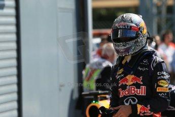 World © Octane Photographic Ltd. Saturday 6th September 2014, Italian GP, Monza - Italy. Formula 1 Qualifying Parc Ferme. Infiniti Red Bull Racing RB10 - Sebastian Vettel. Digital Ref: 1106LB1D6274