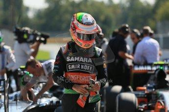 World © Octane Photographic Ltd. Saturday 6th September 2014, Italian GP, Monza - Italy. - Formula 1 Qualifying Parc Ferme. Sahara Force India VJM07 – Nico Hulkenburg. Digital Ref : 1106LB1D6279