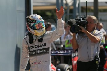 World © Octane Photographic Ltd. Saturday 6th September 2014, Italian GP, Monza - Italy. - Formula 1 Qualifying Parc Ferme. Mercedes AMG Petronas F1 W05 Hybrid – Lewis Hamilton. Digital Ref: 1106LB1D6312