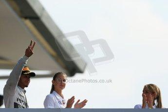 World © Octane Photographic Ltd. Sunday 7th September 2014, Italian GP, Monza - Italy. - Formula 1 Podium. Mercedes AMG Petronas F1 W05 Hybrid – Lewis Hamilton (1st). Digital Ref: 1113LB1D8471