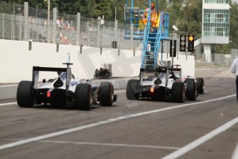 World © Octane Photographic Ltd. Friday Friday 5th September 2014. GP2 Practice – Italian GP - Monza, Italy. Waiting for the track to open . Digital Ref : 1095CB7D9084