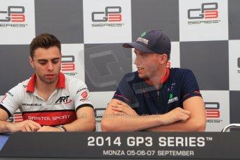 World © Octane Photographic Ltd. Saturday 6th September 2014. GP3 Qualifying press conference, Italian GP, Monza - Italy. Jimmy Eriksson - Koiranen GP (1st) and Dino Zamparelli - ART Grand Prix (2nd). Digital Ref : 1103CB7D7388