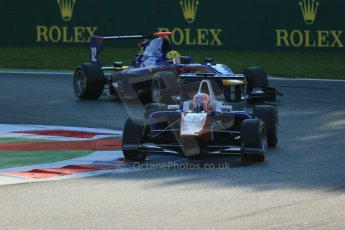 World © Octane Photographic Ltd. Saturday 6th September 2014. GP3 Race 1, Italian GP, Monza - Italy. Luca Ghiotto - Trident and Luis Sa Silva - Carlin. Digital Ref : 1108LB1D6441