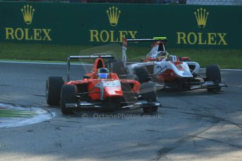 World © Octane Photographic Ltd. Saturday 6th September 2014. GP3 Race 1, Italian GP, Monza - Italy. Robert Visoiu - Arden International and Marvin Kirchhofer - ART Grand Prix. Digital Ref : 1108LB1D6625