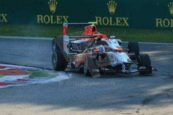 World © Octane Photographic Ltd. Saturday 6th September 2014. GP3 Race 1, Italian GP, Monza - Italy. Riccardo Agostini - Hilmer Motorsport and Ryan Cullen - Marussia Manor Racing. Digital Ref : 1108LB1D6722