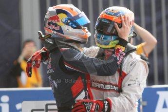 World © Octane Photographic Ltd. Sunday 7th September 2014. GP3 Race 2, Italian GP, Monza - Italy. Dean Stoneman - Marussia Manor Racing congratulated by Alex Lynn - Carlin. Digital Ref : 1110CB7D0679