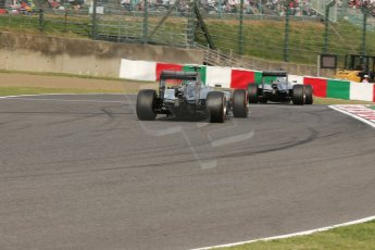 World © Octane Photographic Ltd. Saturday 4th October 2014, Japanese Grand Prix - Suzuka. - Formula 1 Qualifying. Mercedes AMG Petronas F1 W05 Hybrid – Lewis Hamilton and Nico Rosberg. Digital Ref: