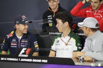 World © Octane Photographic Ltd. Thursday 2nd October 2014, Japanese Grand Prix - Suzuka. - Formula 1 Drivers' Press conference. Caterham F1 Team – Kamui Kobayashi and Infiniti Red Bull Racing - Sebastian Vettel. Digital Ref: