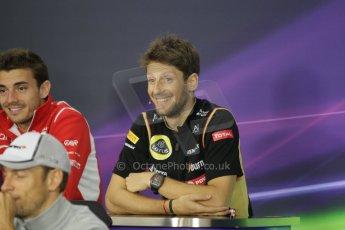 World © Octane Photographic Ltd. Thursday 2nd October 2014, Japanese Grand Prix - Suzuka. - Formula 1 Drivers' Press conference. Lotus F1 Team - Romain Grosjean. Digital Ref: 1131CB1D2568