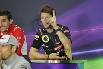 World © Octane Photographic Ltd. Thursday 2nd October 2014, Japanese Grand Prix - Suzuka. - Formula 1 Drivers' Press conference. Lotus F1 Team - Romain Grosjean. Digital Ref: 1131CB1D2570