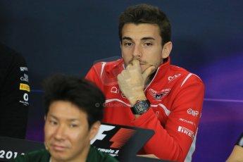 World © Octane Photographic Ltd. Thursday 2nd October 2014, Japanese Grand Prix - Suzuka. - Formula 1 Drivers' Press conference. Marussia F1 Team MR03 - Jules Bianchi. Digital Ref: 1131LB1D4372