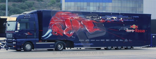 World © Octane Photographic Ltd. 2014 Formula 1 Winter Testing, Circuito de Velocidad, Jerez Winter testing set up day – Monday 27th January 2014. Toro Rosso transporter. Digital Ref : 0879cb1d8820