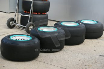 World © Octane Photographic Ltd. 2014 Formula 1 Winter Testing, Circuito de Velocidad, Jerez Winter testing set up day – Monday 27th January 2014. Mercedes AMG Petronas wheels with Pirelli black winter test compound tyres. Digital Ref : 0879cb1d9365