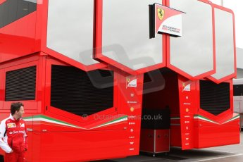 World © Octane Photographic Ltd. 2014 Formula 1 Winter Testing, Circuito de Velocidad, Jerez Winter testing set up day – Monday 27th January 2014. Scuderia Ferrari workshop transporters. Digital Ref :  0879cb7d6966