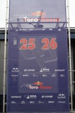 World © Octane Photographic Ltd. 2014 Formula 1 Winter Testing, Circuito de Velocidad, Jerez Winter testing set up day – Monday 27th January 2014. Toro Rosso's press conference backdrop with Vergne's and Kvyat's car new personal numbers. Digital Ref : 0879cb7d6971
