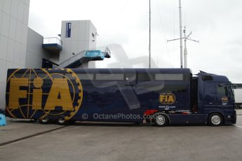 World © Octane Photographic Ltd. 2014 Formula 1 Winter Testing, Circuito de Velocidad, Jerez Winter testing set up day – Monday 27th January 2014. FIA transporter. Digital Ref : 0879cb7d6989