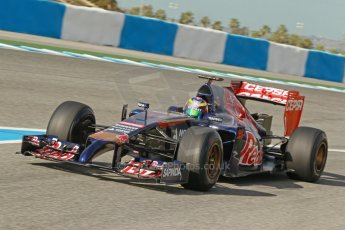 World © Octane Photographic Ltd. 2014 Formula 1 Winter Testing, Circuito de Velocidad, Jerez. Tuesday 28th January 2014. Day 1. Scuderia Toro Rosso STR9 - Jean-Eric Vergne. Digital Ref: 0882cb1d9367