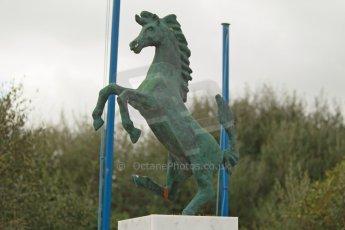 "World © Octane Photographic Ltd. 2014 Formula 1 Winter Testing, Circuito de Velocidad, Jerez. Tuesday 28th January 2014. Day 1. The bronze ""Prancing Horse of Ferrari"" statue. Digital Ref: 0882cb1d9425"