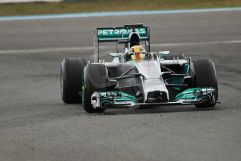 World © Octane Photographic Ltd. 2014 Formula 1 Winter Testing, Circuito de Velocidad, Jerez. Tuesday 28th January 2014. Day 1. Mercedes AMG Petronas F1 W05 – Lewis Hamilton. Digital Ref: 0882cb1d9453